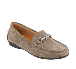 Three quarter angle of Grey Suede loafer featuring suede upper materials and a suede footbed - size 6