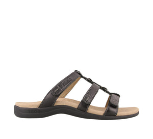 Outside Angle of Black Slide sandal with three adjustable hook & loop straps  - size 7