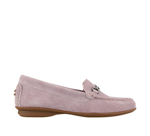 Outside angle of Mauve Suede loafer featuring suede upper materials and a suede footbed - size 6