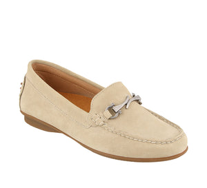 Three quarter angle of Ice Suede loafer featuring suede upper materials and a suede footbed - size 6