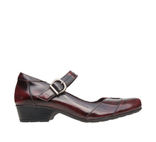 "Load image into Gallery viewer, ""Outside of Balance Dark Cherry Tailored mary jane with a microfiber lining, stitching, removable footbed, & rubber outsoles. - size 6"""