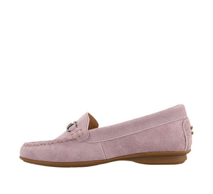 Instep angle of Mauve Suede loafer featuring suede upper materials and a suede footbed - size 6