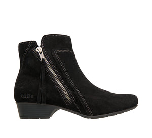 """Outside of Delilah Black Suede Low heel suede boot featuring outside zipper, decorative stitching & a durable rubber outsole. - size 6.5"""