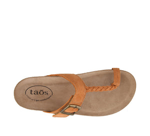 Top down Angle of Clay Suede Toe loop sandal with an adjustable hook & loop - size 36