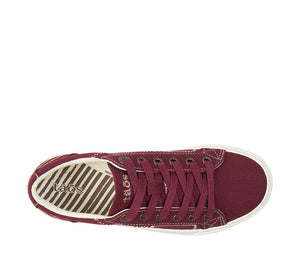 """Top down of Plim Soul Burgundy Canvas sneaker with laces, removable footbed, & durable, flexible rubber outsole. - size 6"""