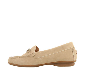 Instep angle of Sand Suede loafer featuring suede upper materials and a suede footbed - size 6