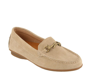 Three quarter angle of Sand Suede loafer featuring suede upper materials and a suede footbed - size 6