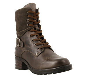 Three quarter angle of Grey lace up combat boot with removable footbed and rubbe outsole - size 36