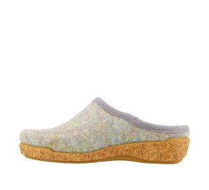 Outside Angle of Blue Confetti adjustable wool slip on clog with decorative stitching  - size 36