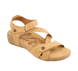 3/4 Angle of Natural Cork leather thong sandal with adjustable closure and rubber outsole - size 36
