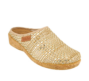 3/4 Angle of Primavera Stone/Gold Primavera is a comfortable and cozy women's sweater clog. Featuring boiled wool. - size 36