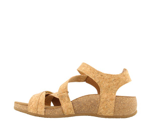 Instep Angle of Natural Cork leather thong sandal with adjustable closure and rubber outsole - size 36