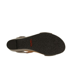 Outsole Angle of Graphite wedge sandal featuring hook and loop straps and rubber outsole - size 36