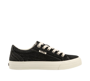 Outside angle of Black Denim Canvas lace up sneaker with removeable footbed - size 6