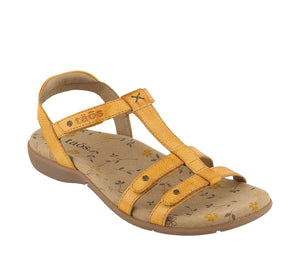 Three quarter angle of Golden Yellow adjustable leather sandal with microfiber footbed - size 6