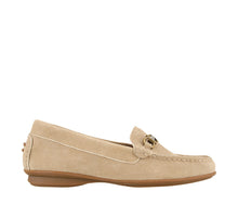 Load image into Gallery viewer, Outside angle of Sand Suede loafer featuring suede upper materials and a suede footbed - size 6