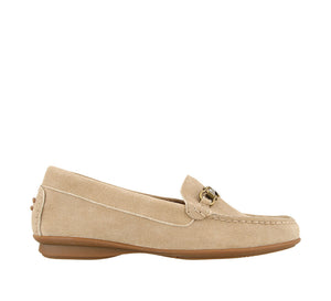 Outside angle of Sand Suede loafer featuring suede upper materials and a suede footbed - size 6