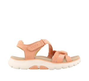 Outside Angle of Clay/Cantaloupe adjustable sandal with cupping footbed & arch & metatarsal support - size 6