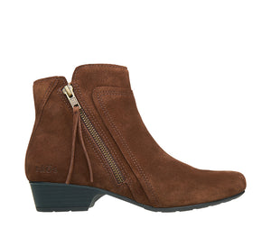 """Outside of Delilah Chocolate Suede Low heel suede boot featuring outside zipper, decorative stitching & a durable rubber outsole. - size 6"""