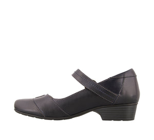 Instep angle of Navy leather mary jane with adjustable hook and loop straps, lined in microfiber - size 6