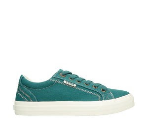 """Outside of Plim Soul Teal Green Canvas sneaker with laces, removable footbed, & durable, flexible rubber outsole. - size 6"""