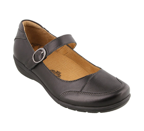 Three quarter angle of Black Leather mary jane featuring a hook and loop strap closure and rubber outsole - size 6