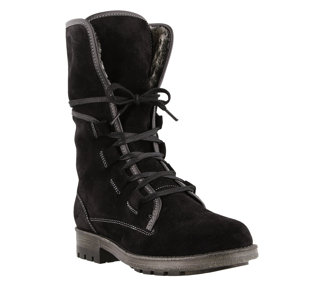 Three quarter angle of Black suede lace up boot with faux fur lining and removable outsole - size 36
