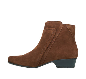 """Instep of Delilah Chocolate Suede Low heel suede boot featuring outside zipper, decorative stitching & a durable rubber outsole. - size 6"""
