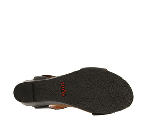 Outsole Angle of Black Leather wedge sandal featuring hook and loop straps and rubber outsole - size 36