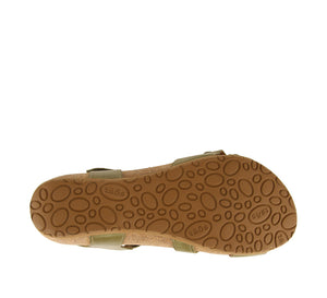 Outsole Angle of Herb Green leather adjustable sandal with suede footbed & rubber outsole - size 36
