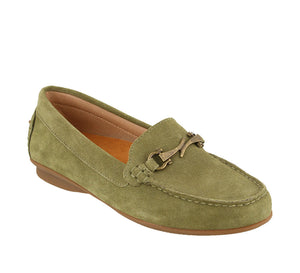 Three quarter angle of Herb Green Suede loafer featuring suede upper materials and a suede footbed - size 6