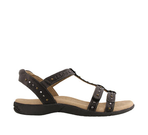 Outsole Angle of Black adjustable leather sandal with adjustable closures and crafted medallions - size 7