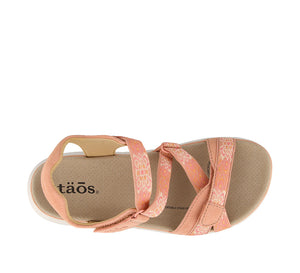 Top down Angle of Clay/Cantaloupe adjustable sandal with cupping footbed & arch & metatarsal support - size 6
