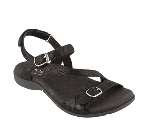 Three quarter angle of Black Printed Leather adjustable sandal with hook and loop straps and decorative buckles - size 6