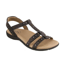 Load image into Gallery viewer, Three Quarter Angle of Black adjustable leather sandal with adjustable closures and crafted medallions - size 7