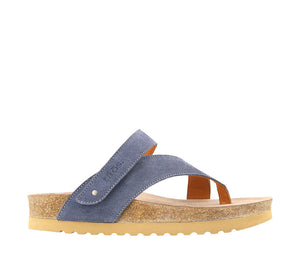 Outside angle of Blue Suede suede thong sandal with adjustable closure and rubber outsole - size 36