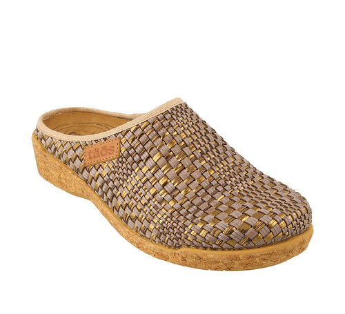 3/4 Angle of Primavera Dark Taupe/Bronze Primavera is a comfortable and cozy women's sweater clog. Featuring boiled wool. - size 36