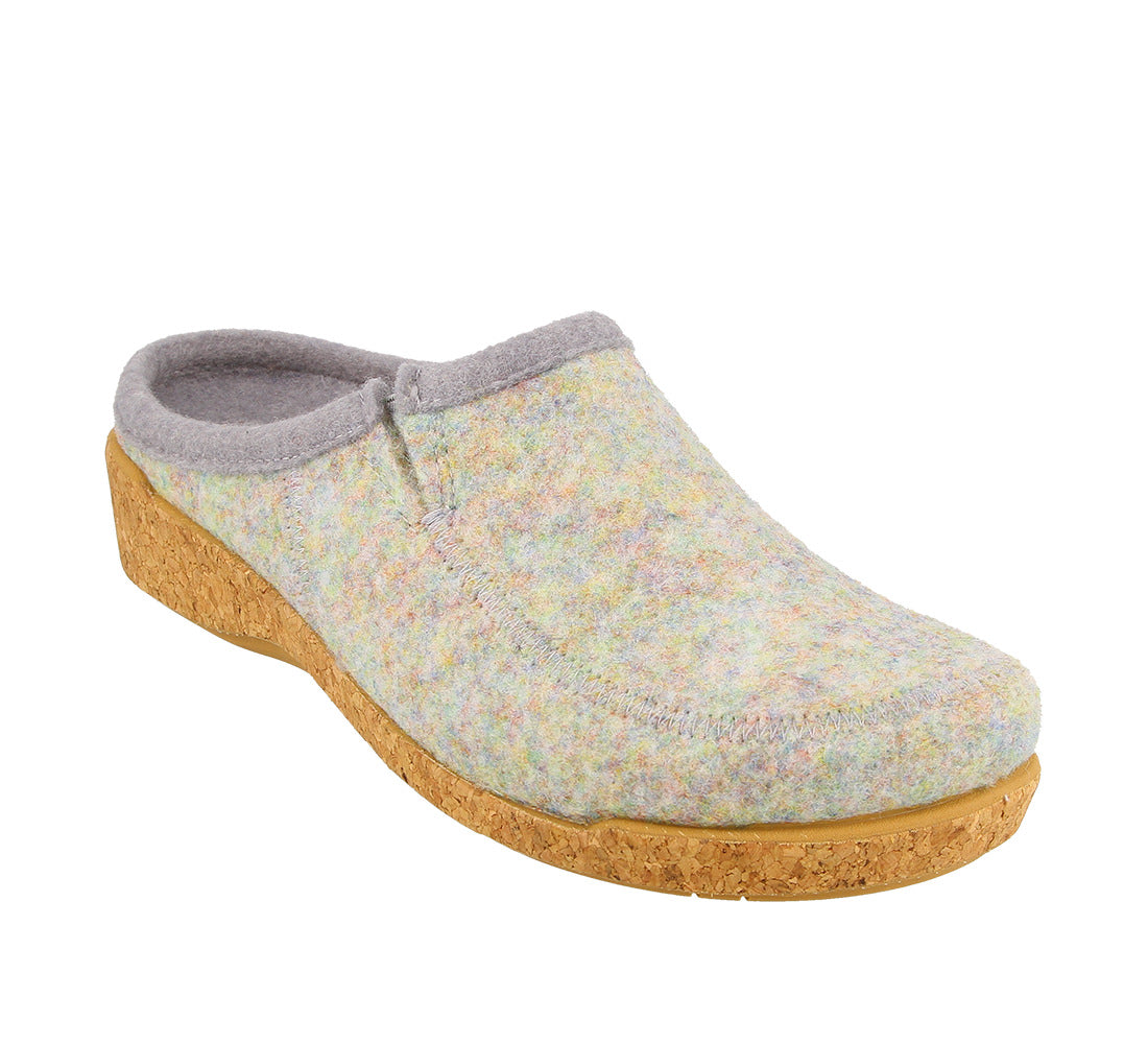 Three quarter Angle of Blue Confetti adjustable wool slip on clog with decorative stitching  - size 36