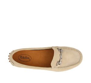 Top down angle of Ice Suede loafer featuring suede upper materials and a suede footbed - size 6