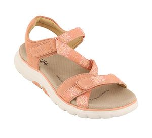 3/4 Angle of Clay/Cantaloupe adjustable sandal with cupping footbed & arch & metatarsal support - size 6