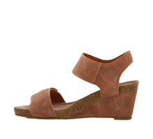 Load image into Gallery viewer, Instep angle of Blush Embossed Suede wedge sandal featuring hook and loop straps and rubber outsole - size 36