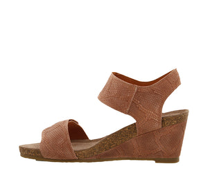 Instep angle of Blush Embossed Suede wedge sandal featuring hook and loop straps and rubber outsole - size 36