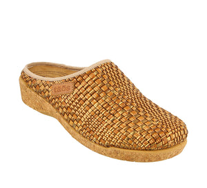 3/4 Angle of Primavera Tan/Bronze Primavera is a comfortable and cozy women's sweater clog. Featuring boiled wool. - size 36