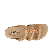 Load image into Gallery viewer, Top down Angle of Natural Slide sandal with three adjustable hook & loop straps  - size 6