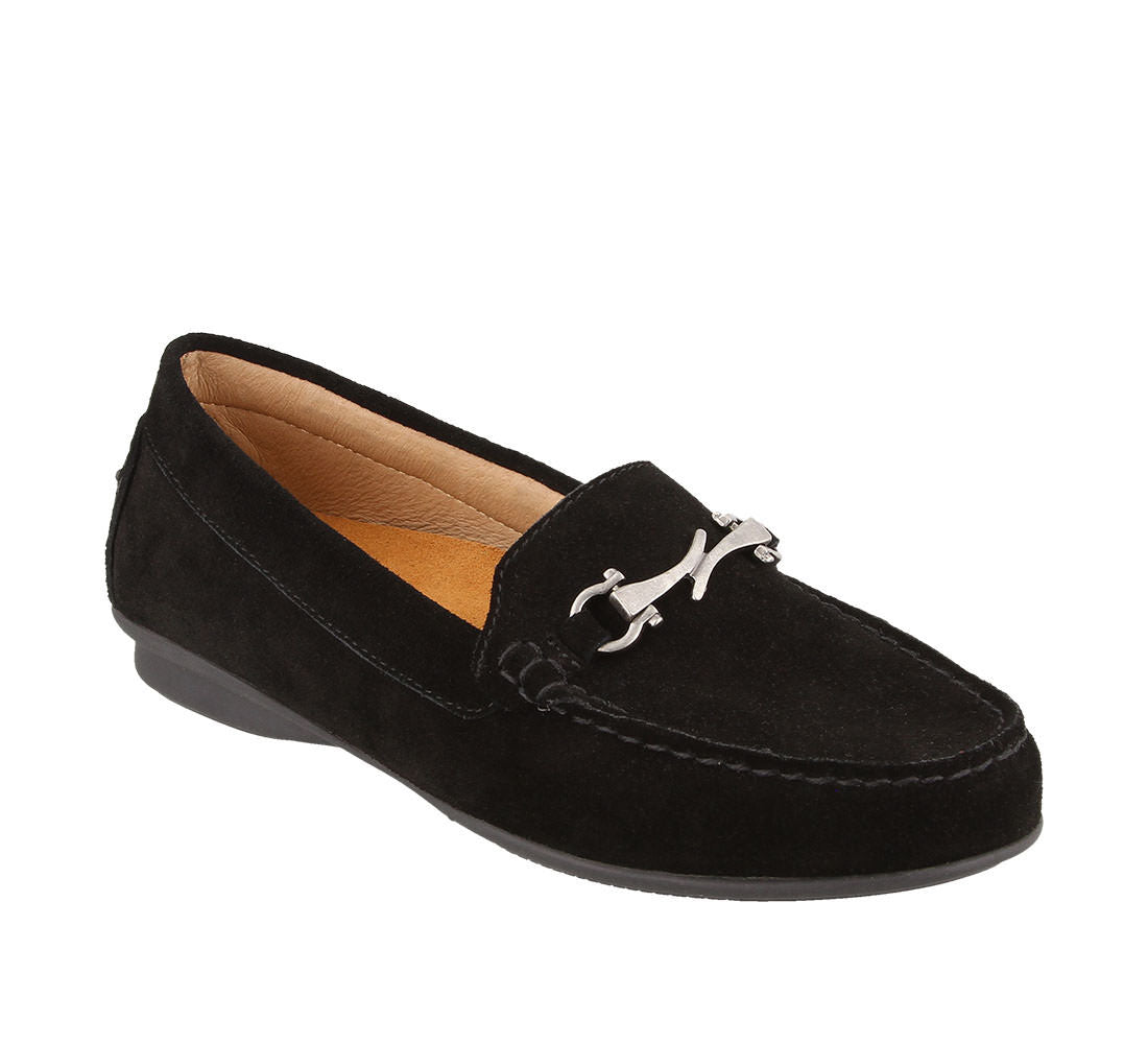 Three quarter angle of Black Suede loafer featuring suede upper materials and a suede footbed - size 6
