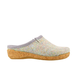 Inside Angle of Blue Confetti adjustable wool slip on clog with decorative stitching  - size 36