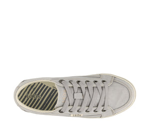 Top Angle of Moc Star Light Grey Distressed Canvas sneaker with removable footbed with support, and rubber outsole. - size 5