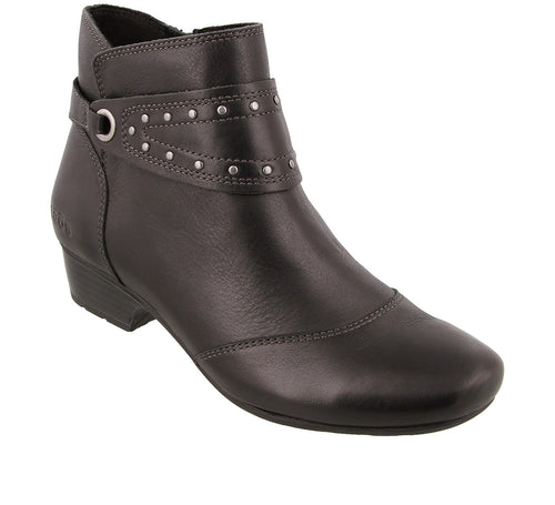 Three quarter angle of Black ankle boot with decorative strap and inside zipper - size 6