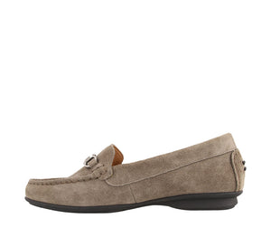 Instep angle of Grey Suede loafer featuring suede upper materials and a suede footbed - size 6