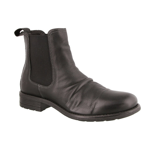 3/4 Angle of Black leather slip on boot - size 36